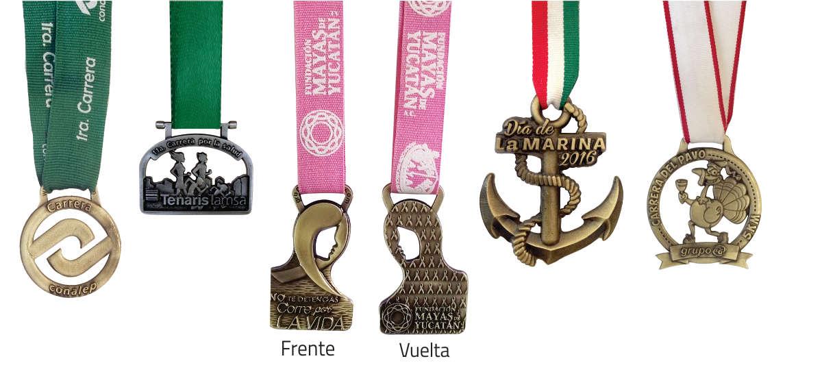 imagen de medallas con fondos calados y formas especiales. Eventos CONALEP, carrera Tenaris Tamsa, Fundación Mayas Yucatan, Día de la marina y carrera del pavo