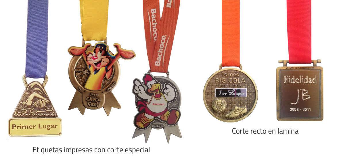 Imagen de medallas impresas con corte especial y con corte recto y lámina grabada. Medalla de Aquara, Nesquick, Bachoco, Torneo Big Cola