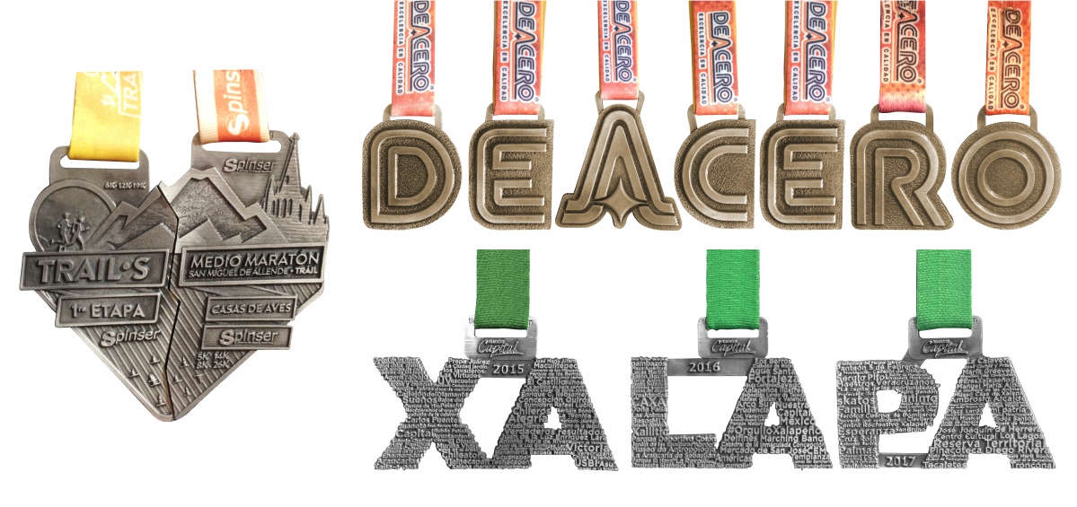 imagen de medallas para diferentes eventos en serie para diferentes ediciones. Las dos primeras imágenes para las carreras TRAILs de Spinser. Las medallas de arriba para los diferentes eventos de la empresa DE ACERO y las medallas de abajo con las letras de los diferentes eventos de Xalapa.