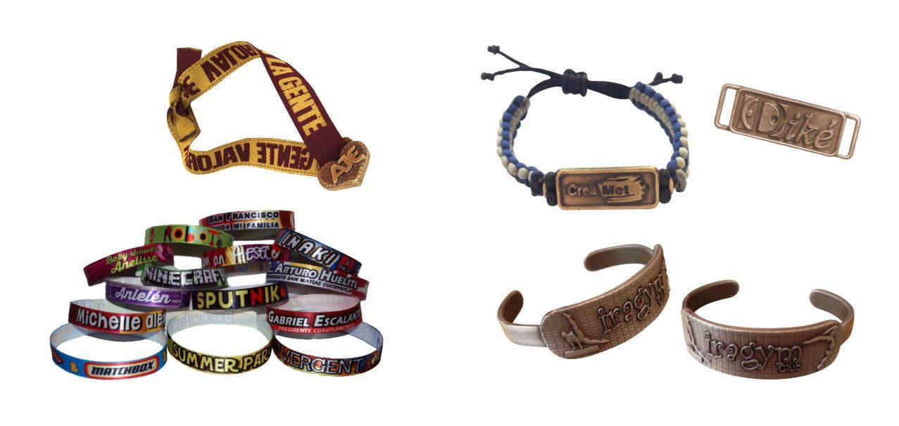 pulseras sublimadas con logotipos y colores. Pulseras metálicas personalizadas