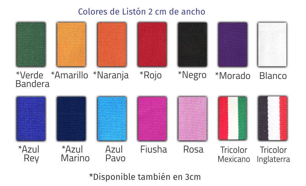 imagen con los diferentes colores de los listones para medallas: verde bandera, amarillo, naranja, rojo, negro, morado, blanco, azul rey, azul marino, azul pavo, fiusha, rosa, tricolor mexicano y tricolor Inglaterra