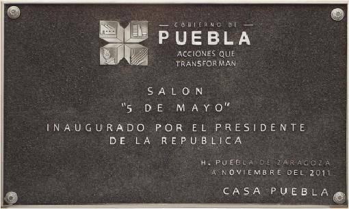 imagen de placa de inauguración - salón 5 de mayo Puebla