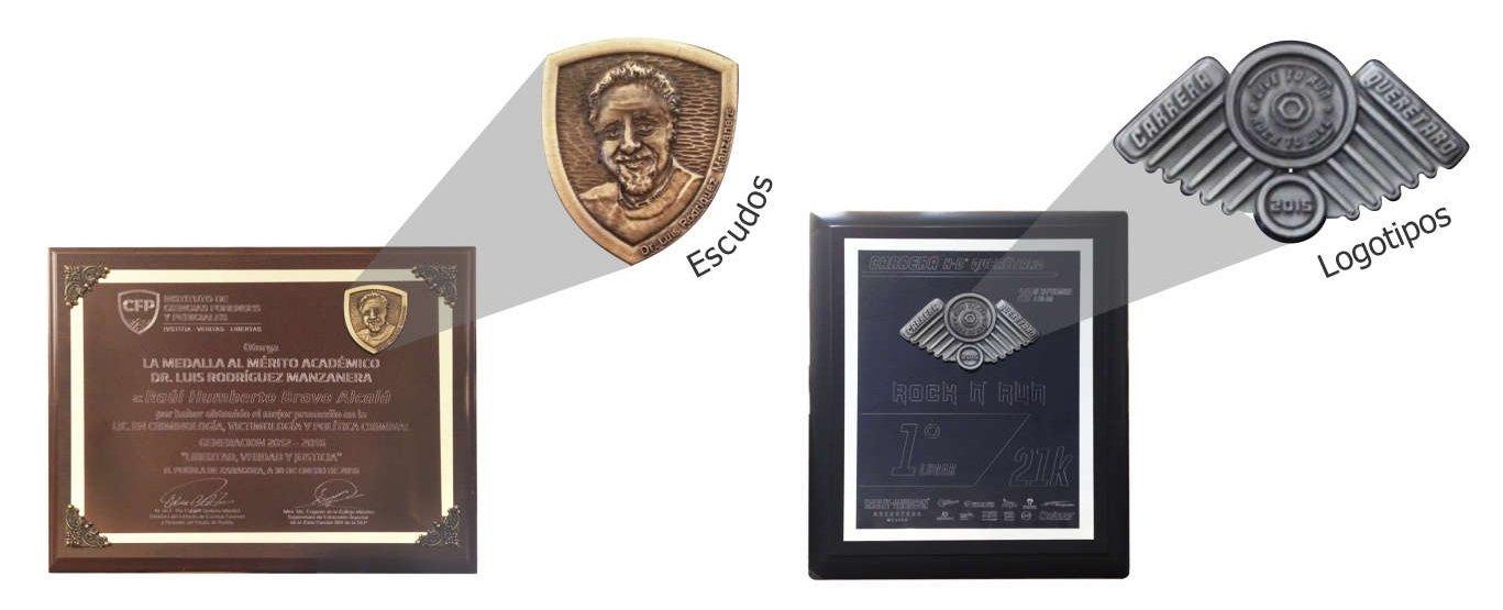 Imagen de relieves metálicos en 3D para reconocimientos con placas grabadas con diamante